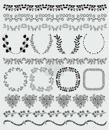 Black Hand Sketched Seamless Borders, Frames, Branches