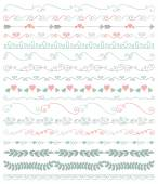 Vector Colorful Hand Sketched Seamless Borders Branches