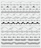 Vector Black Hand Sketched Seamless Borders Branches