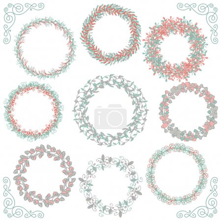 Illustration for Collection of Colorful Artistic Hand Sketched Rustic Decorative Doodle Round Wreaths, Laurels, Borders and Frames. Floral Design Elements. Hand Drawn Vector Illustration - Royalty Free Image