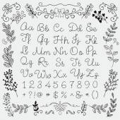 Black Hand Drawn English Alphabet Letters Numbers and Symbols on White Background Education Set Decorative Floral Design Elements Doodle Sketched Vector Illustration