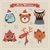 Cute Christmas Fashion Hipster Animals and Pets Vector Illustration New Year Xmas Colorful Cartoon Chracters