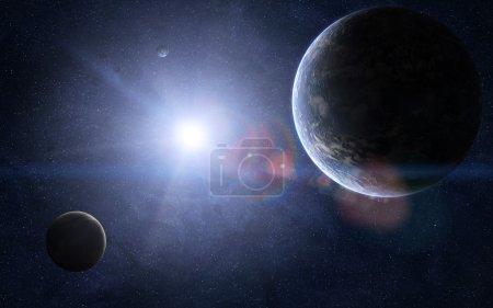 Photo pour Vue orbitale de couple de planètes extraterrestres et d'un soleil brillant entre eux. - image libre de droit