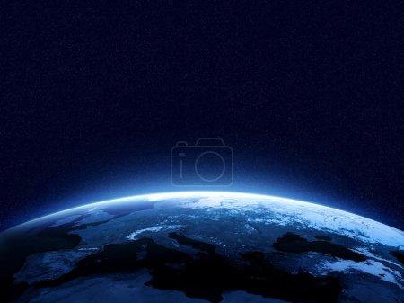 Photo pour Terre dans la nuit en vue de l'espace bleu, rougeoyante atmosphère et l'espace en haut. Parfait pour les illustrations. Éléments de cette image fournie par la Nasa - image libre de droit