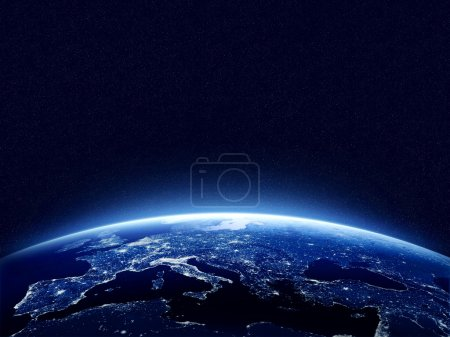 Photo for Earth at night as seen from space with blue, glowing atmosphere and space at the top. Perfect for illustrations.  Elements of this image furnished by NASA - Royalty Free Image
