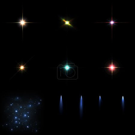 Foto de Colorful star flares, stellar constellation and several comets on a black background - Imagen libre de derechos