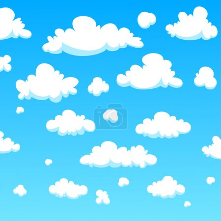 Illustration for White cartoon clouds background, vector illustration. - Royalty Free Image