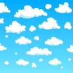 White cartoon clouds background, vector illustrati...
