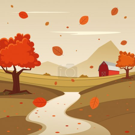 Illustration for Cartoon illustration of red farm barn, season landscape background. - Royalty Free Image