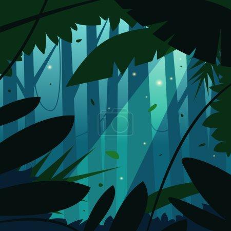 Illustration pour Illustration de bande dessinée de la jungle tropicale . - image libre de droit