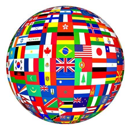 Photo pour Globe avec des drapeaux de divers pays sur fond blanc - image libre de droit