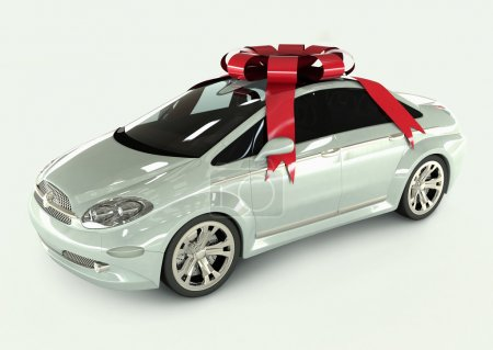 Photo pour Cadeau voiture avec rubans rouges et dentelle . - image libre de droit
