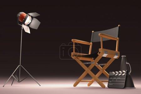 Photo pour Objets de l'industrie cinématographique, le concept de cinéma . - image libre de droit
