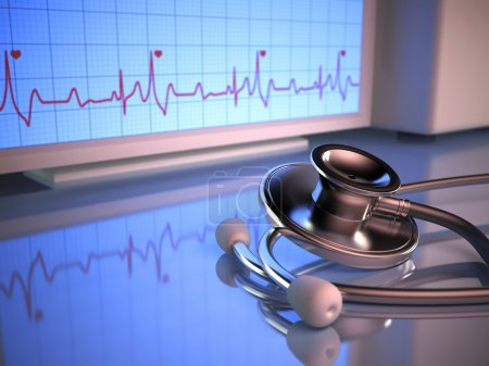 Photo for Stethoscope in front of the heartbeat monitor. - Royalty Free Image