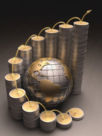 Globe surrounded by coins made of gold