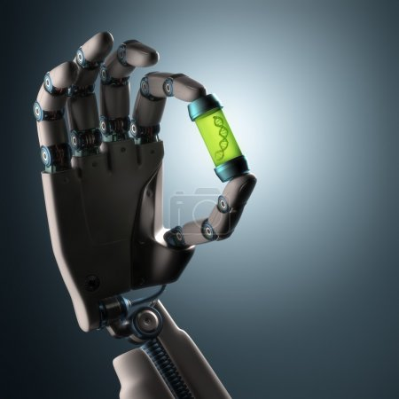 Photo pour Robotic hand holding a test tube with a dna inside. Technology concept manipulating organic life. Clipping path included. - image libre de droit