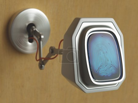 Fingerprint scanner  on the door