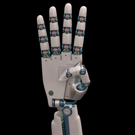 Photo for Robotic hand shaped and measures that mimic the human skeleton.  Robot showing four fingers - Royalty Free Image