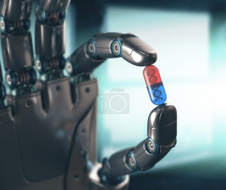 Photo for Robotic hand holding a pill of DNA. Concept of the technology, dominated by machines. - Royalty Free Image