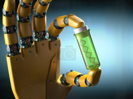 Photo for Robotic hand holding a test tube with a sample DNA inside. Concept of the technology. - Royalty Free Image