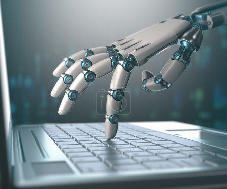 Photo pour Main robotisée, accédant sur ordinateur portable, le monde virtuel de l'information. Concept d'intelligence artificielle et le remplacement des hommes par des machines - image libre de droit