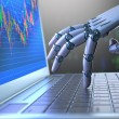 Robot hand, ordering on a laptop keyboard, an exch...
