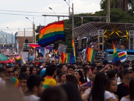 Photo for LGBTQI march gay parade homosexual transsexual lesbian bisexual queer pride celebration event rainbow flag in Medellin Antioquia Colombia South America - Royalty Free Image