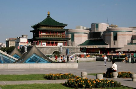 Xi'an, China: Bell Tower and Ginwa Plaza Gardens