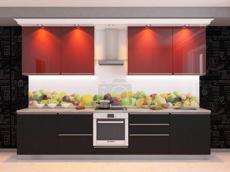 Photo pour 3D design cuisine interier - image libre de droit