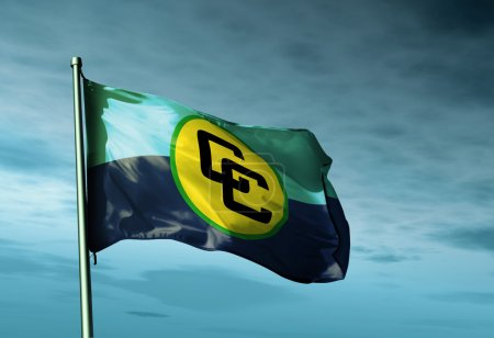 CARICOM flag waving on the wind