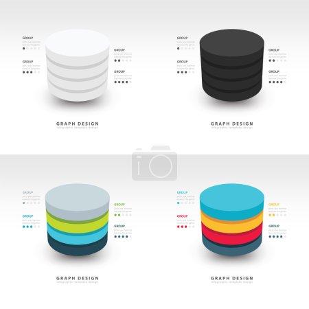 Illustration for Modern Infographics template cylinder vector set - Royalty Free Image