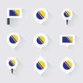 Vlajka Bosny a Hercegoviny a kolíky pro infographic a mapa de