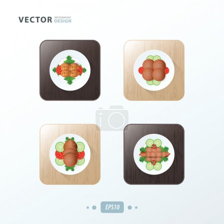 Hot dog And Salad Icons design food on wood