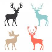 Various silhouettes of deer isolated on white background christmas deers