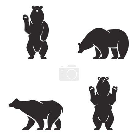 Illustration pour Mascotte d'ours vintage, emblèmes, symboles, icônes ensemble. Peut être utilisé pour l'impression de T-shirts, étiquettes, badges, autocollants, logotypes illustration vectorielle - image libre de droit