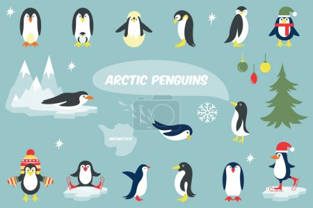 Set of cute Christmas character - penguin. Vector ...