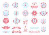 Vector badges collection Design elements Breast cancer awareness
