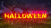 Glowing Happy Halloween text in the dark forest 2