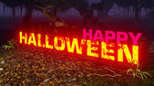 Glowing Happy Halloween text in the dark forest 7