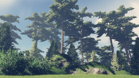 Photo for Beautiful woodland scenery at the edge of the pinewood. Realistic 3D illustration was done from my own 3D rendering file. - Royalty Free Image