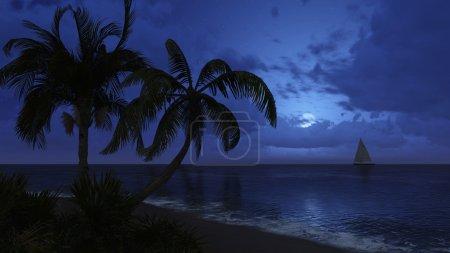 Photo pour Plage tropicale avec des silhouettes de cocotier et avec bateau à voile dans la distance la nuit. L'illustration 3d réaliste a été faite à partir de mon propre fichier de rendu 3d. - image libre de droit