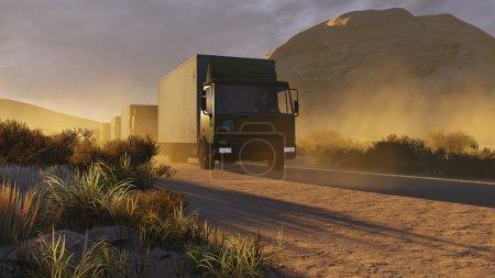 Photo pour Un cortège militaire sur un chemin de terre dans un canyon en soirée. Illustration 3D réaliste a été faite à partir de mon propre fichier de rendu 3D . - image libre de droit