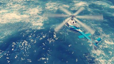 Helicopter flies over ocean waves