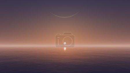 Photo pour Ciel sans nuage avec un soleil levant et la demi-lune au-dessus de la surface de l'eau miroir - image libre de droit