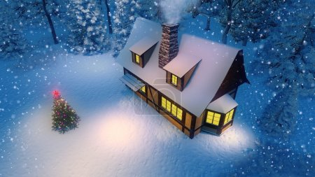 Rustic house and decorated christmas tree at snowfall night top view