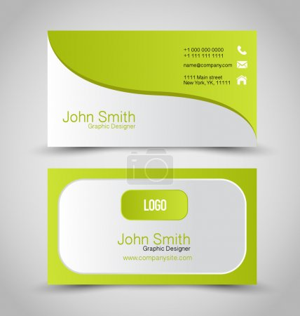 Illustration for Business card design set template for company corporate style. Green and silver color. Vector illustration. - Royalty Free Image