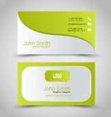 Business card design set template for company corporate style Green and silver color Vector illustration