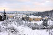 The View on Romantic snowy Prague City, Czech Republic