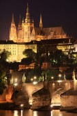Night Prague gothic Castle with Charles Bridge, Czech Republic