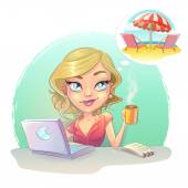 Assistant secretary woman at computer laptop Technical support dreaming thinking  vacation